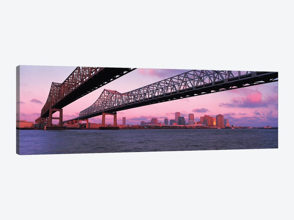 Nola Panoramic Skyline Cityscape (Bridge - Sunset) by Unknown Artist 1-piece Canvas Wall Art