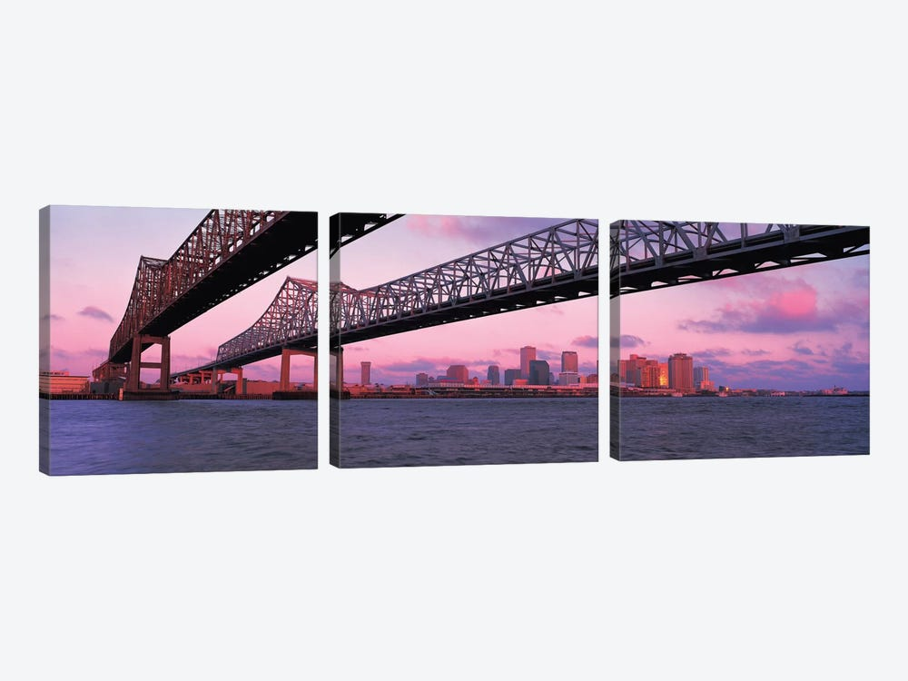 Nola Panoramic Skyline Cityscape (Bridge - Sunset) by Unknown Artist 3-piece Canvas Art