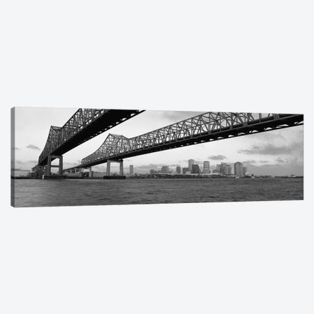Nola Panoramic Skyline Cityscape (Black & White - BridgeSunset) Canvas Print #6060} Art Print