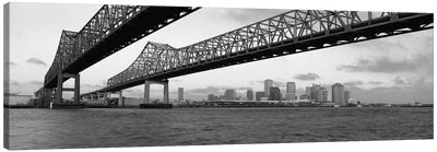 Nola Panoramic Skyline Cityscape (Black & White - BridgeSunset) Canvas Art Print