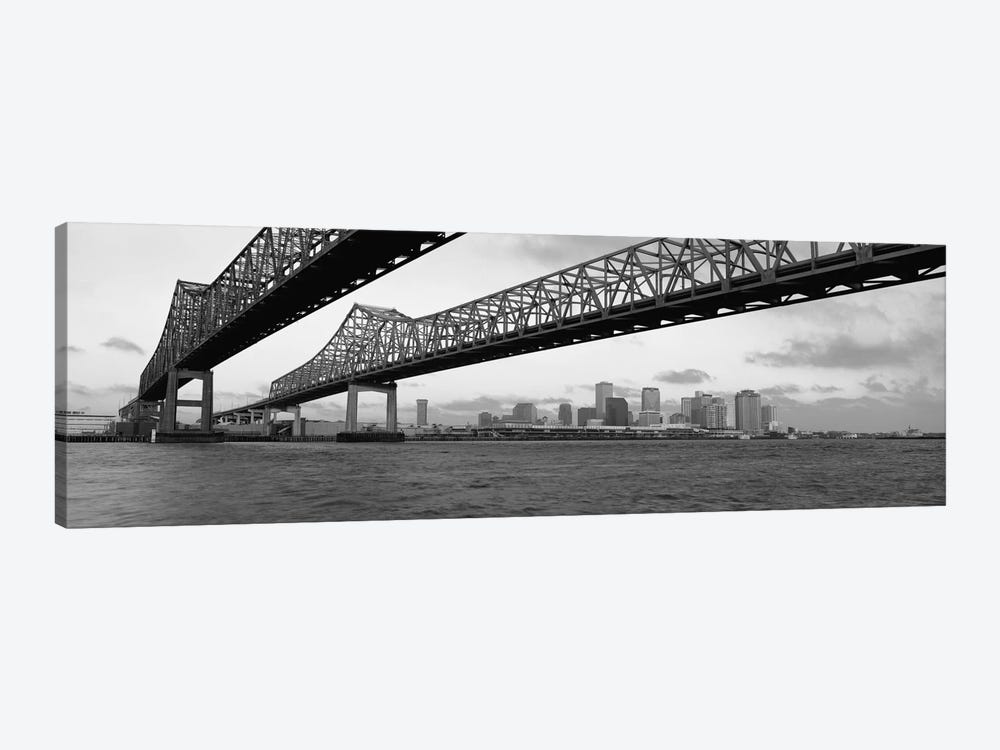 Nola Panoramic Skyline Cityscape (Black & White - BridgeSunset) 1-piece Canvas Art