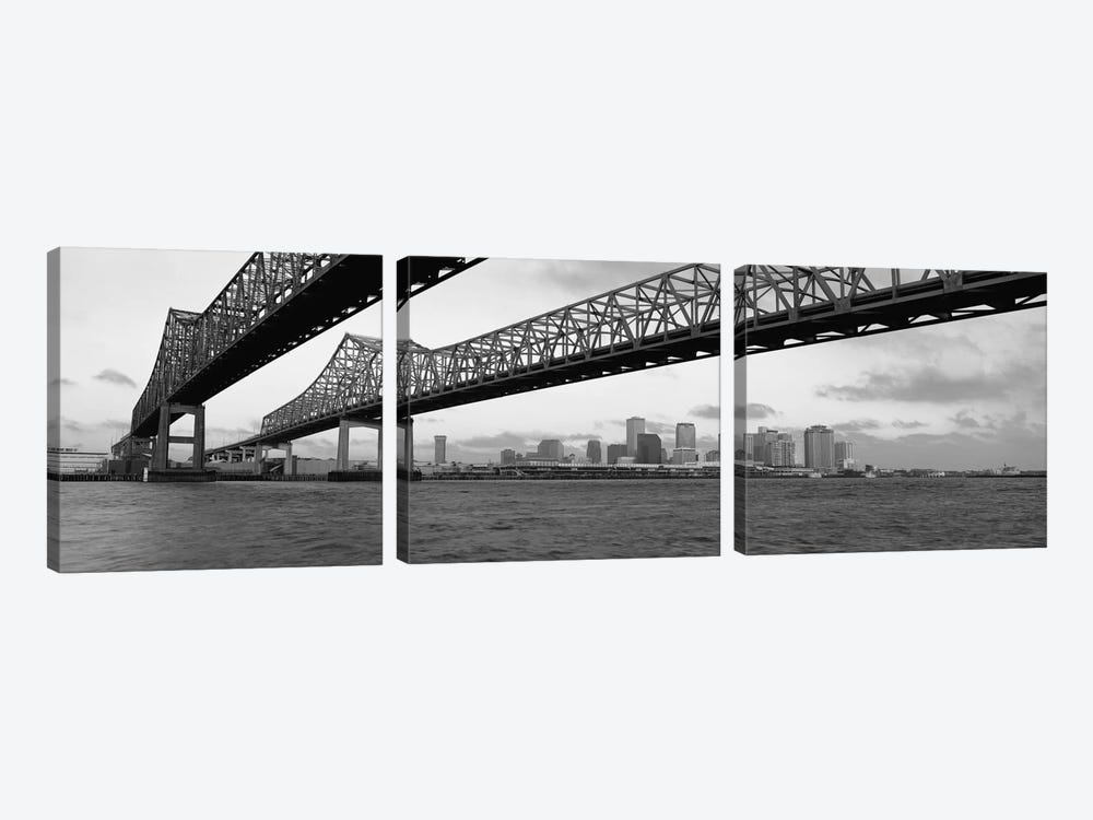 Nola Panoramic Skyline Cityscape (Black & White - BridgeSunset) 3-piece Canvas Wall Art