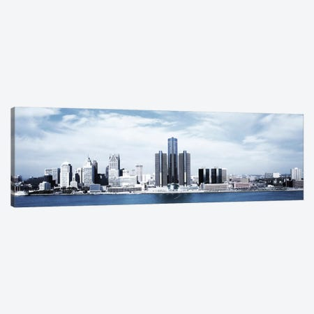Detroit Panoramic Skyline Cityscape 3-Piece Canvas #6061} by Unknown Artist Canvas Art Print