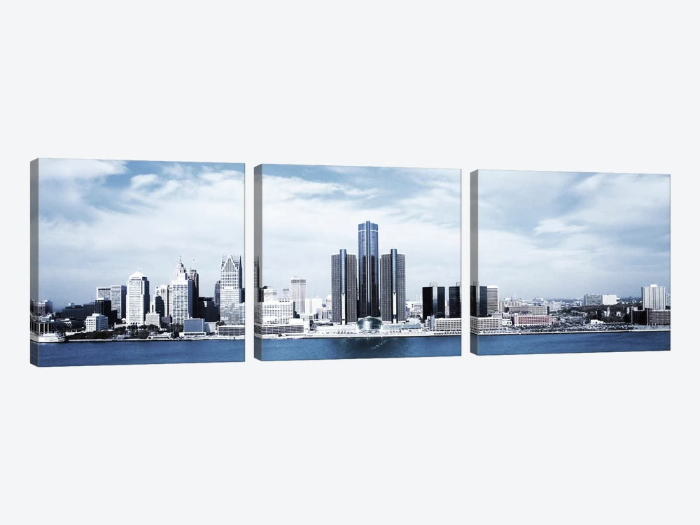 Detroit Panoramic Skyline Cityscape by Unknown Artist 3-piece Canvas Print