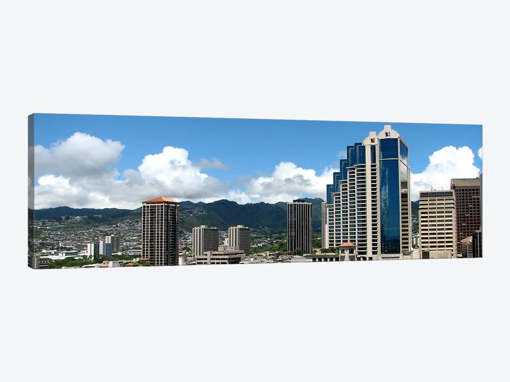 Honolulu Panoramic Skyline Cityscape 1-piece Canvas Artwork