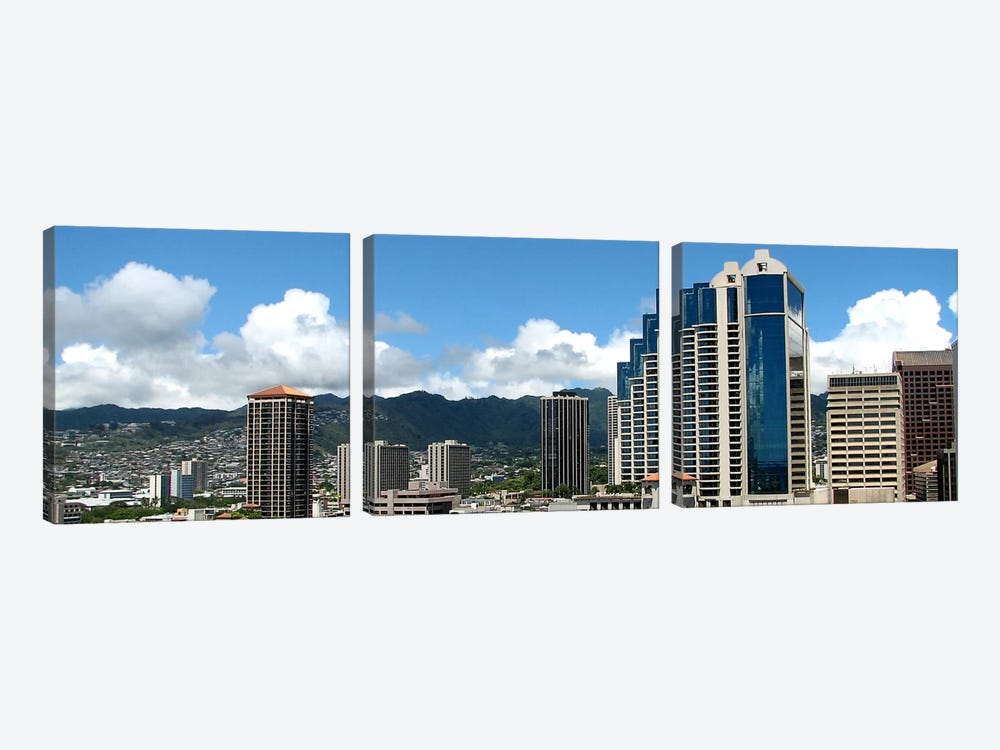 Honolulu Panoramic Skyline Cityscape 3-piece Canvas Artwork