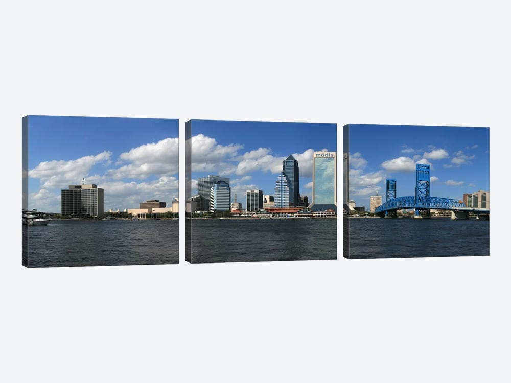 Jacksonville Panoramic Skyline Cityscape by Unknown Artist 3-piece Canvas Print