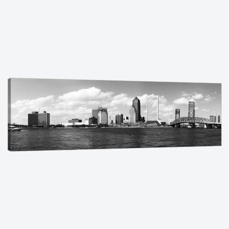 Jacksonville Panoramic Skyline Cityscape (Black & White) Canvas Print #6064} Canvas Artwork