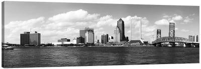 Jacksonville Panoramic Skyline Cityscape (Black & White) Canvas Print #6064