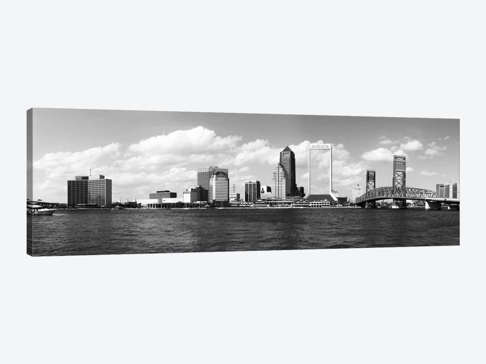 Jacksonville Panoramic Skyline Cityscape (Black & White) 1-piece Canvas Wall Art
