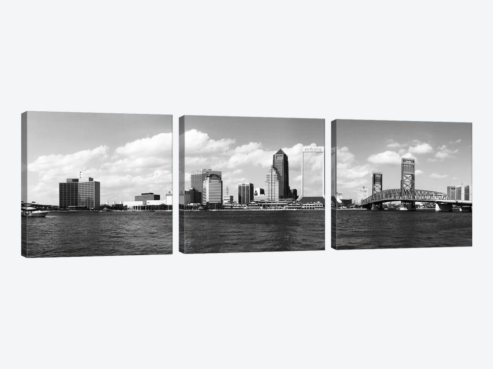 Jacksonville Panoramic Skyline Cityscape (Black & White) by Unknown Artist 3-piece Canvas Art
