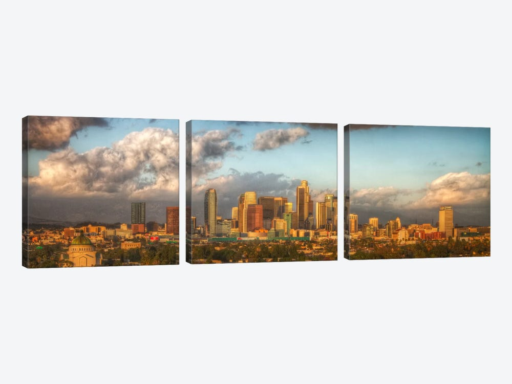Los Angeles Panoramic Skyline Cityscape by Unknown Artist 3-piece Art Print