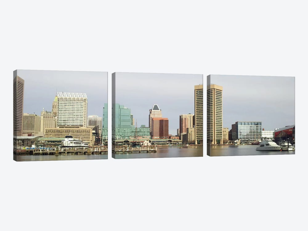 Baltimore Panoramic Skyline Cityscape by Unknown Artist 3-piece Canvas Wall Art