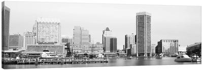 Baltimore Panoramic Skyline Cityscape (Black & White) Canvas Art Print