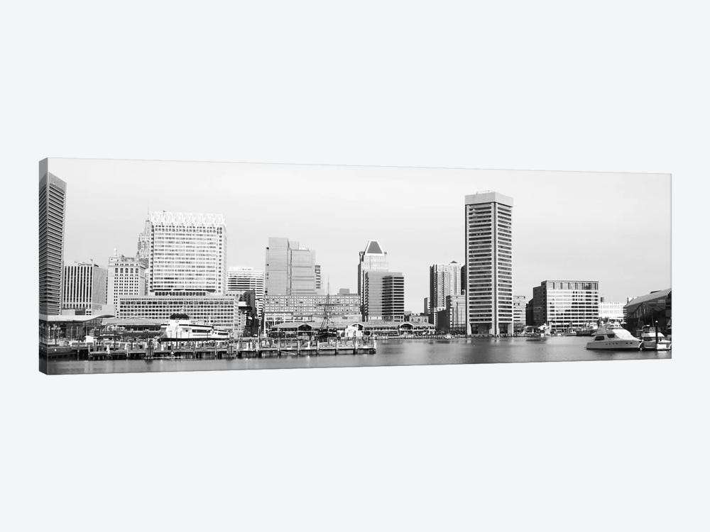 Baltimore Panoramic Skyline Cityscape (Black & White) 1-piece Canvas Art Print