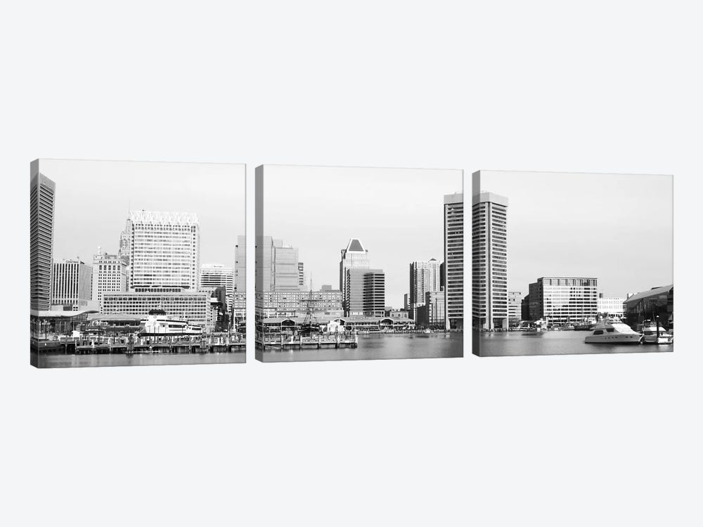 Baltimore Panoramic Skyline Cityscape (Black & White) 3-piece Art Print