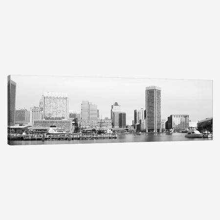 Baltimore Panoramic Skyline Cityscape (Black & White) Canvas Print #6067} by Unknown Artist Canvas Artwork