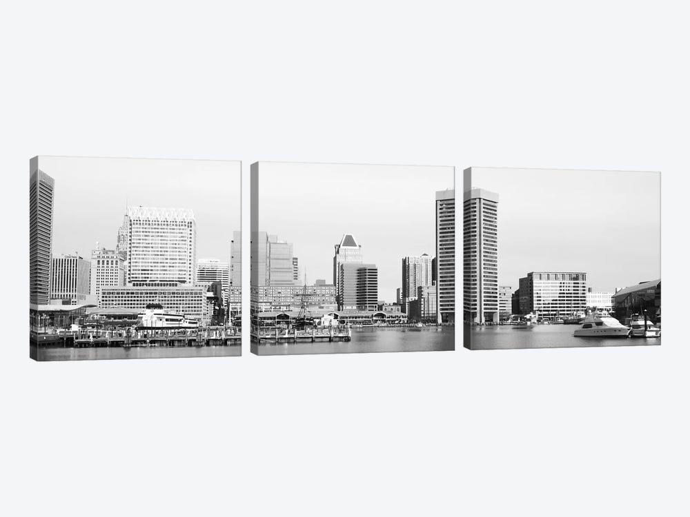 Baltimore Panoramic Skyline Cityscape (Black & White) by Unknown Artist 3-piece Art Print