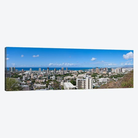 Honolulu Panoramic Skyline Cityscape Canvas Print #6070} Canvas Artwork