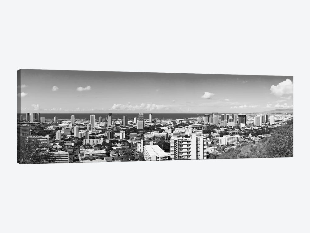 Honolulu Panoramic Skyline Cityscape (Black & White) by Unknown Artist 1-piece Canvas Wall Art