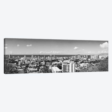 Honolulu Panoramic Skyline Cityscape (Black & White) Canvas Print #6071} by Unknown Artist Canvas Art