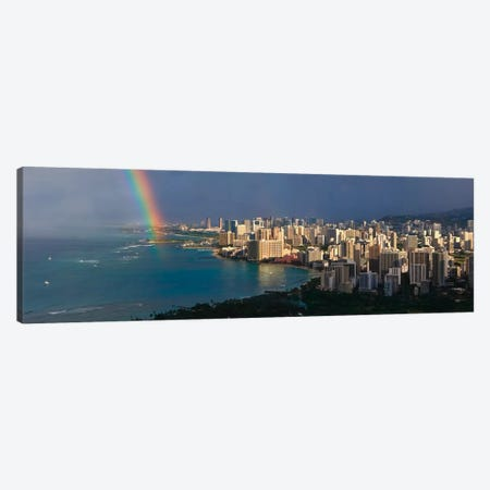 Honolulu Panoramic Skyline Cityscape (Rainbow) Canvas Print #6072} by Unknown Artist Canvas Wall Art