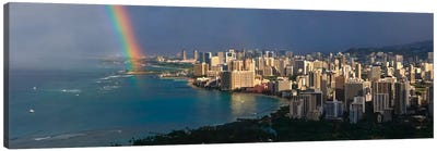 Honolulu Panoramic Skyline Cityscape (Rainbow) Canvas Art Print