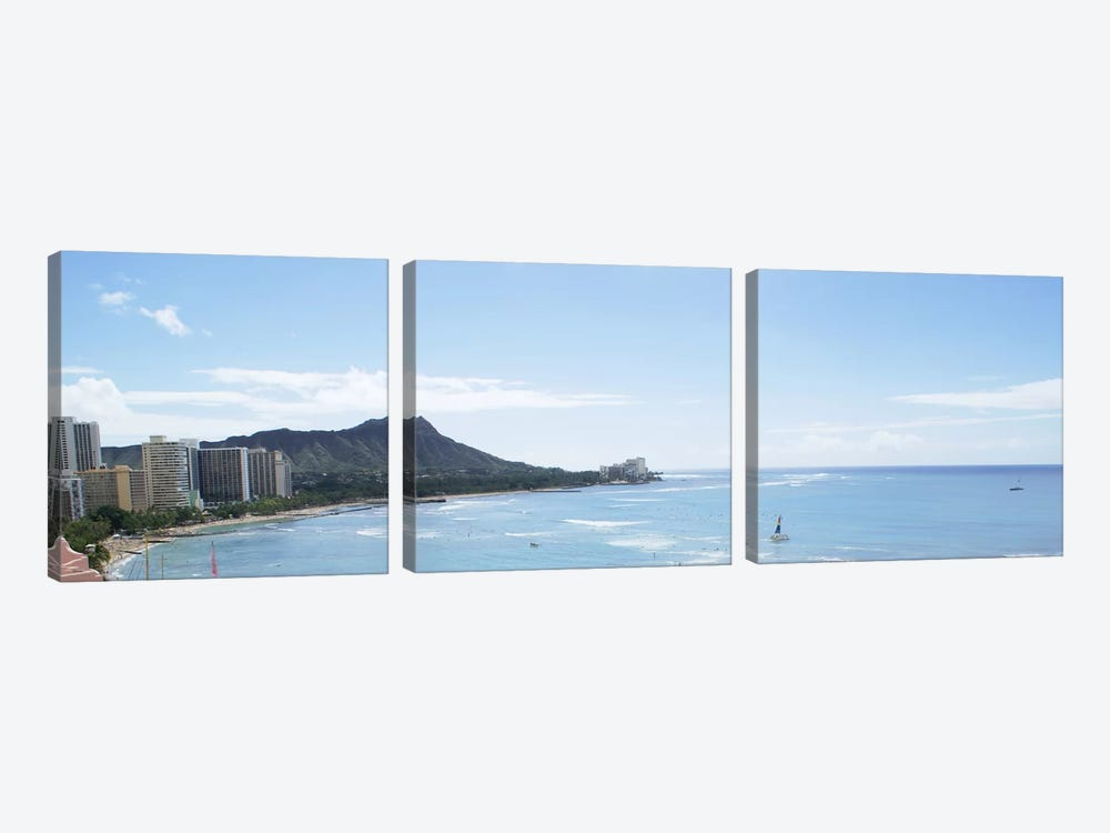 Honolulu Panoramic Skyline Cityscape by Unknown Artist 3-piece Canvas Wall Art