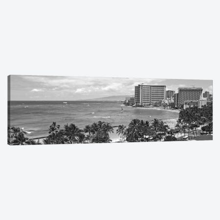 Honolulu Panoramic Skyline Cityscape (Black & White) Canvas Print #6075} by Unknown Artist Canvas Print