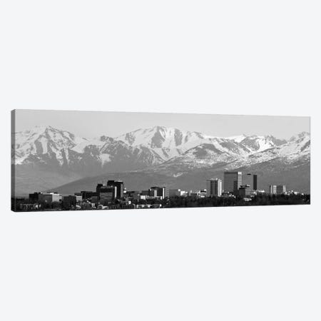 Anchorage Panoramic Skyline Cityscape (Black & White) Canvas Print #6076} Art Print