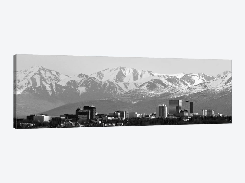 Anchorage Panoramic Skyline Cityscape (Black & White) 1-piece Canvas Print
