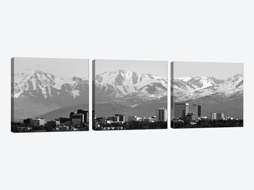 Anchorage Panoramic Skyline Cityscape (Black & White) 3-piece Canvas Print