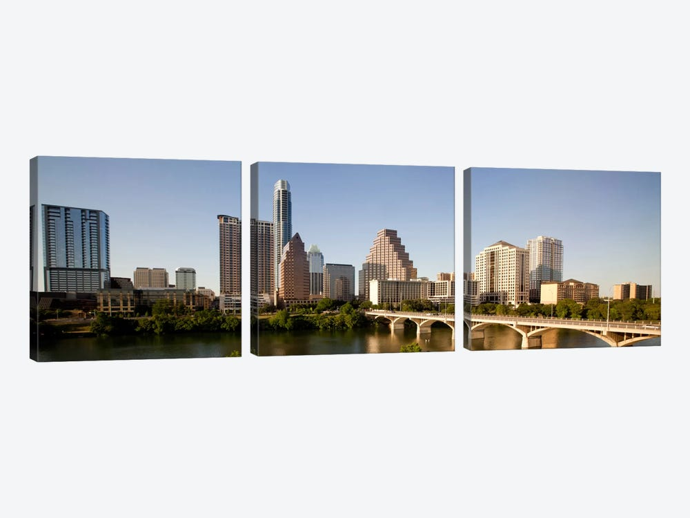 Austin Panoramic Skyline Cityscape by Unknown Artist 3-piece Canvas Wall Art