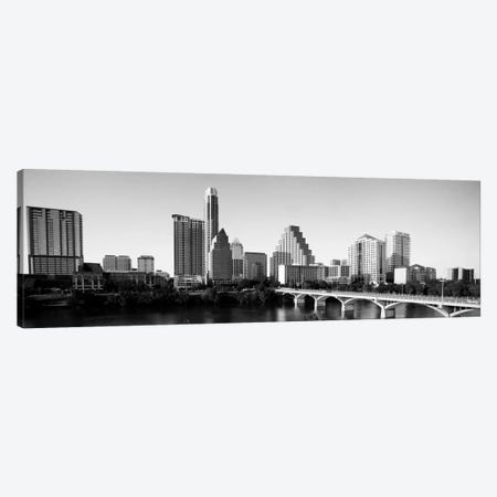 Austin Panoramic Skyline Cityscape (Black & White) Canvas Print #6078} Canvas Art