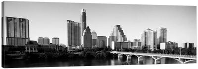 Austin Panoramic Skyline Cityscape (Black & White) Canvas Art Print