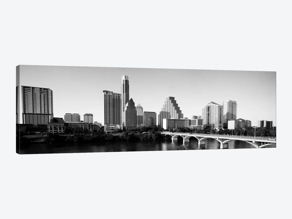 Austin Panoramic Skyline Cityscape (Black & White) 1-piece Canvas Print