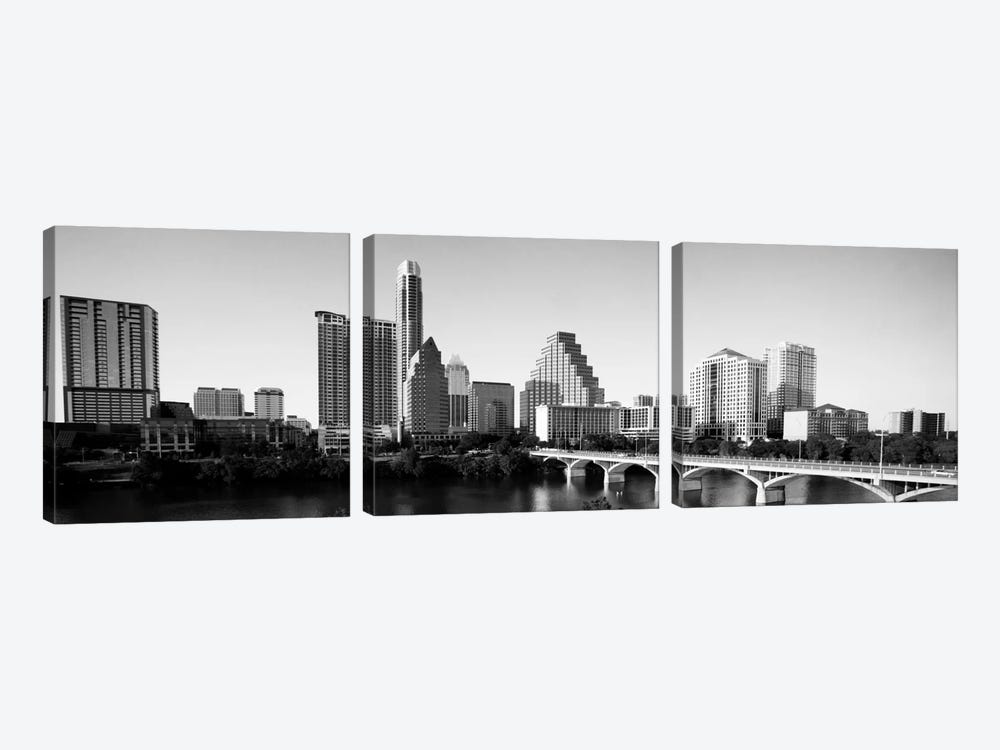 Austin Panoramic Skyline Cityscape (Black & White) 3-piece Canvas Print