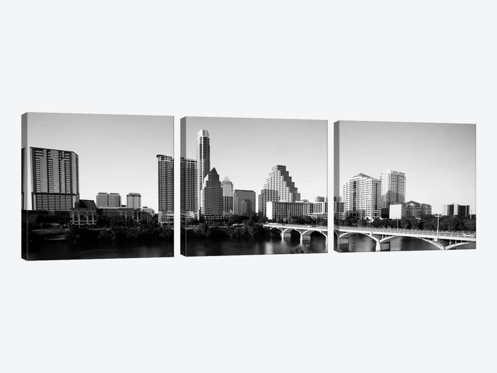 Austin Panoramic Skyline Cityscape (Black & White) by Unknown Artist 3-piece Canvas Print