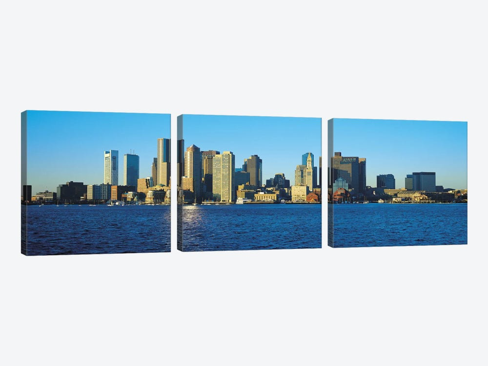 Boston Panoramic Skyline Cityscape by Unknown Artist 3-piece Canvas Wall Art
