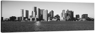 Boston Panoramic Skyline Cityscape (Black & White) Canvas Print #6080