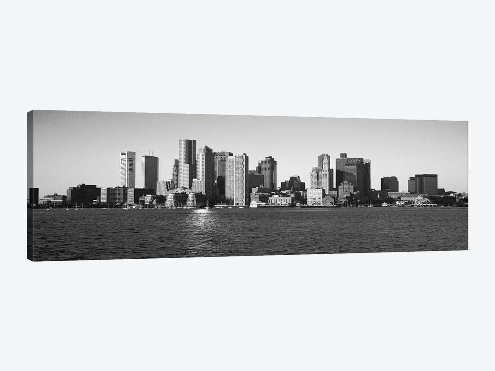 Boston Panoramic Skyline Cityscape (Black & White) 1-piece Canvas Wall Art