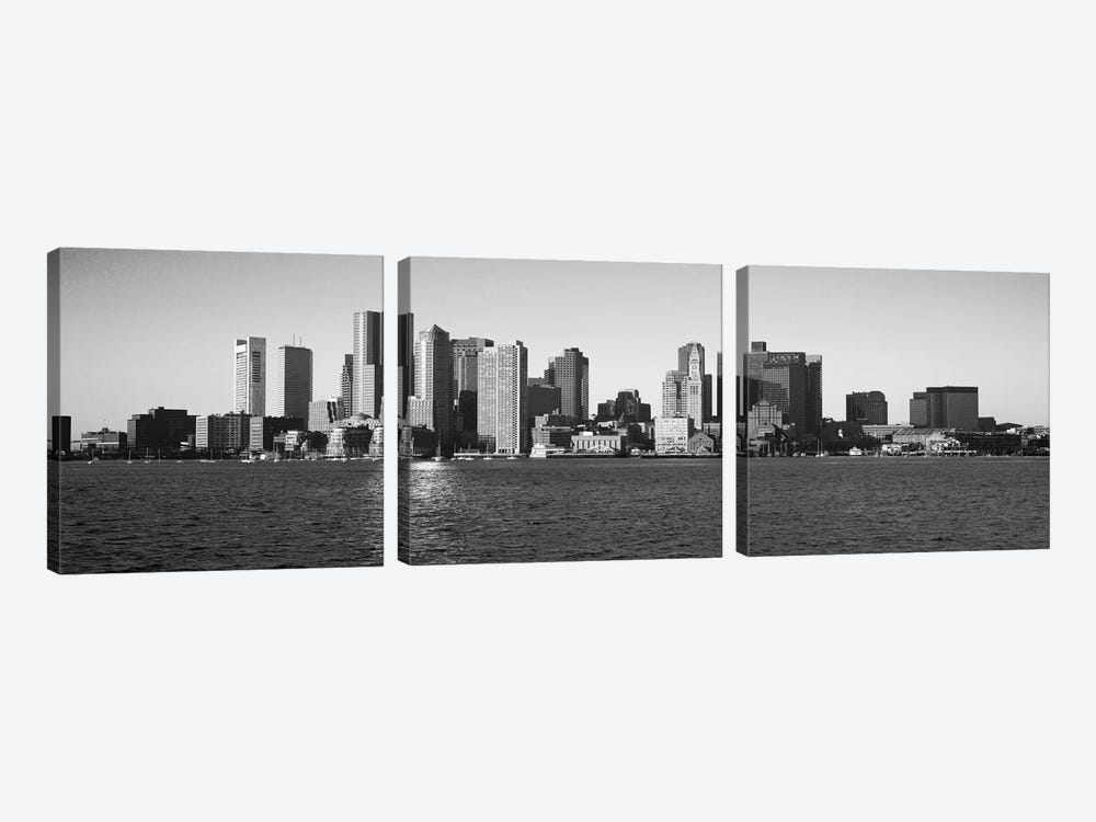 Boston Panoramic Skyline Cityscape (Black & White) 3-piece Canvas Art