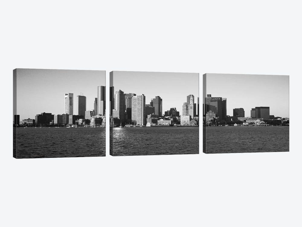 Boston Panoramic Skyline Cityscape (Black & White) by Unknown Artist 3-piece Canvas Art