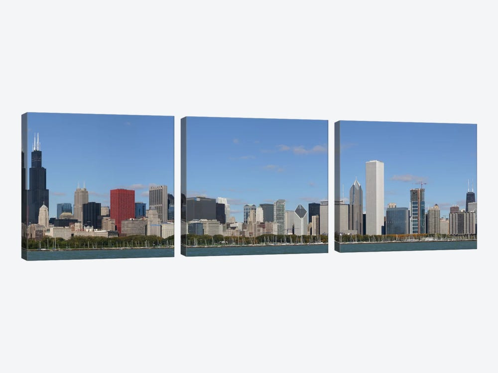 Chicago Panoramic Skyline Cityscape by Unknown Artist 3-piece Canvas Art Print