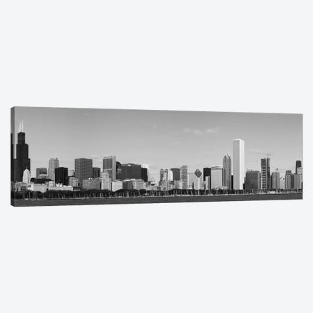 Chicago Panoramic Skyline Cityscape (Black & White) Canvas Print #6082} Art Print
