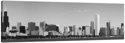 Chicago Panoramic Skyline Cityscape (Black & White) Canvas Print #6082