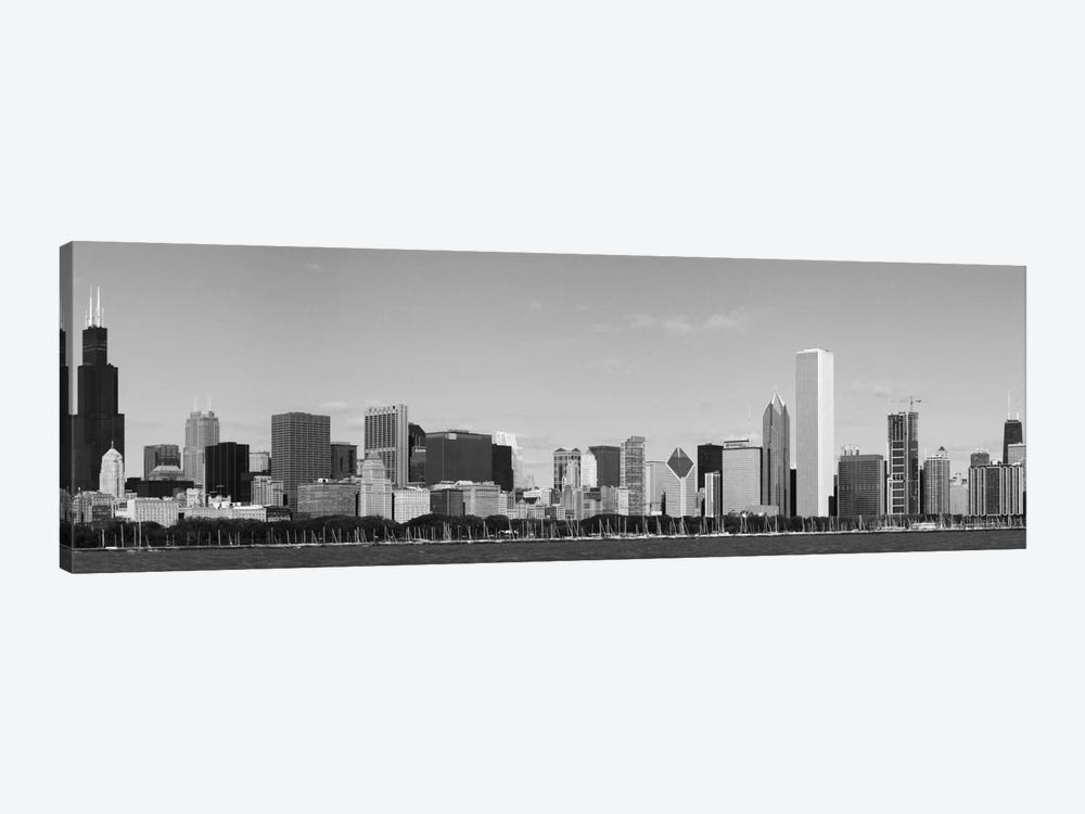 Chicago Panoramic Skyline Cityscape (Black & White) 1-piece Canvas Art