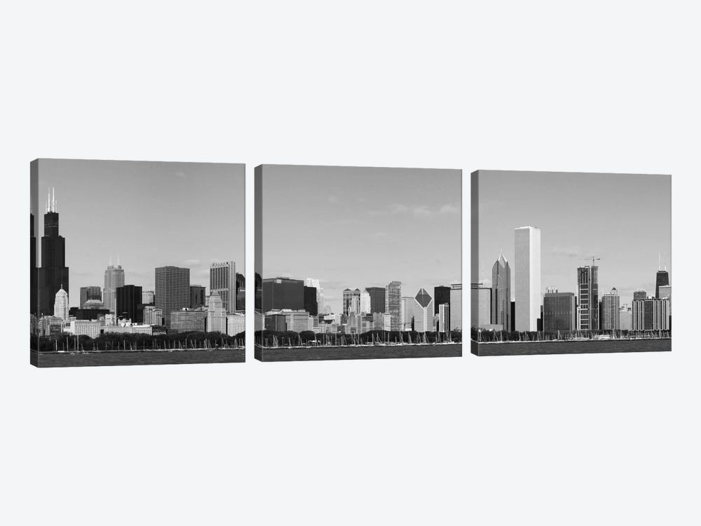 Chicago Panoramic Skyline Cityscape (Black & White) 3-piece Canvas Art