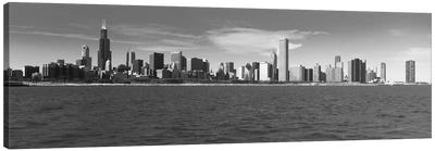 Chicago Panoramic Skyline Cityscape (Black & White) Canvas Print #6083