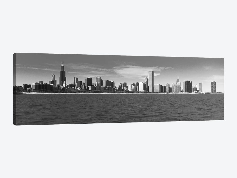 Chicago Panoramic Skyline Cityscape (Black & White) 1-piece Canvas Art Print